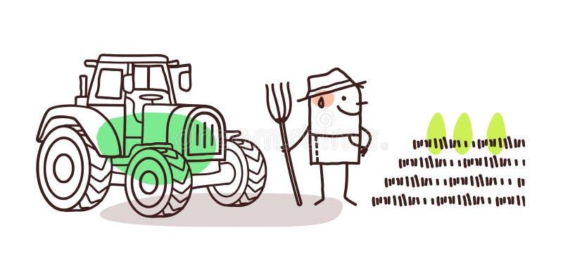 Karikatur-Landwirt mit Traktor stock abbildung