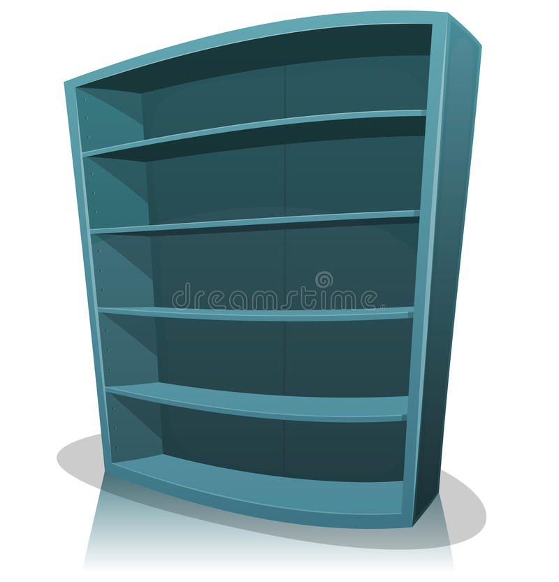 Karikatur-leeres Bibliotheks-Bücherregal vektor abbildung
