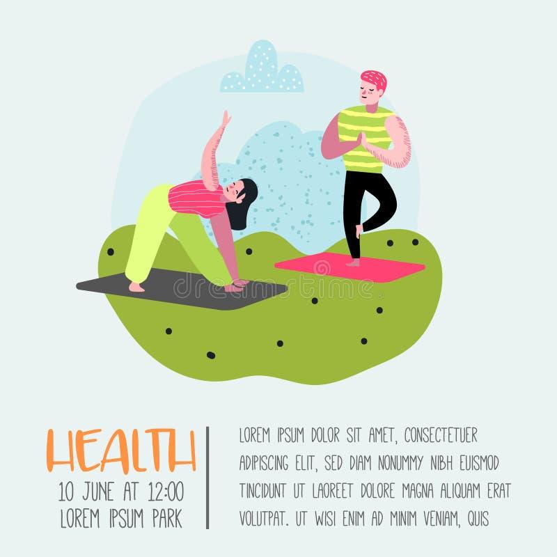 Karikatur-Leute-übendes Yoga-Plakat, Fahne Mann-und Frauen-Ausdehnen, bildend aus Eignungs-Training, gesunder Lebensstil lizenzfreie abbildung