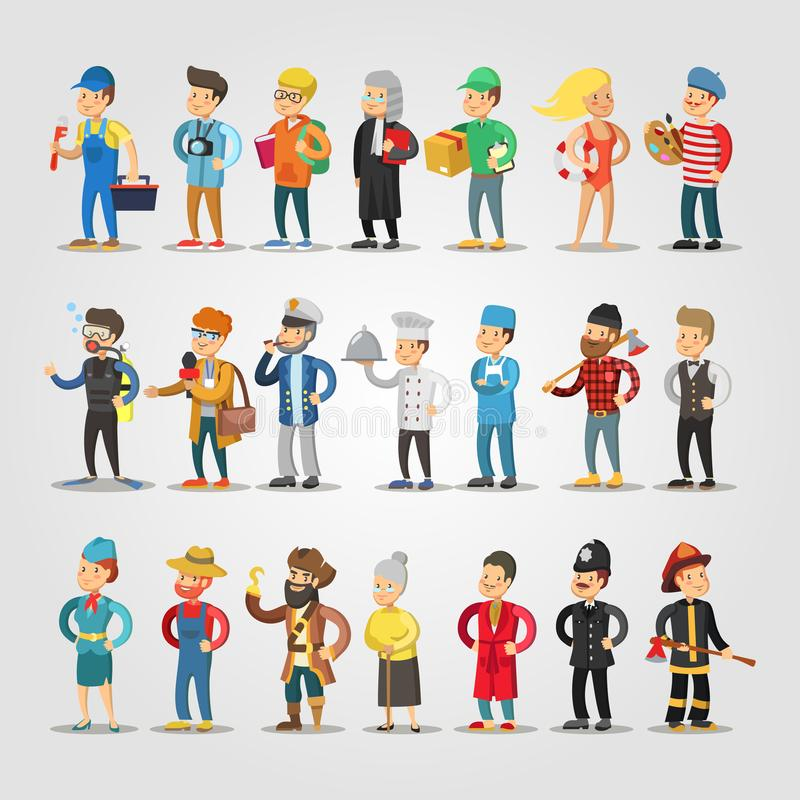 Karikatur-Leute-Berufe eingestellt vektor abbildung