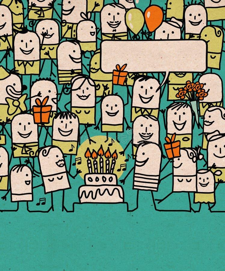 Karikatur-Leute drängen sich und alles- Gute zum Geburtstagzeit lizenzfreie abbildung