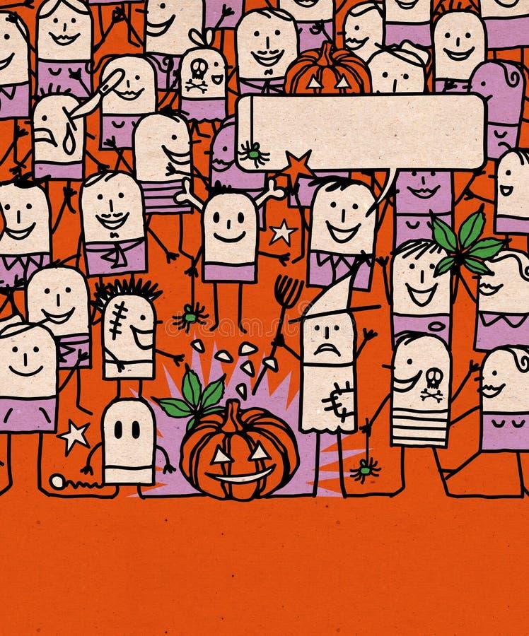 Karikatur-Leute drängen sich und glückliche Halloween-Zeit lizenzfreie abbildung