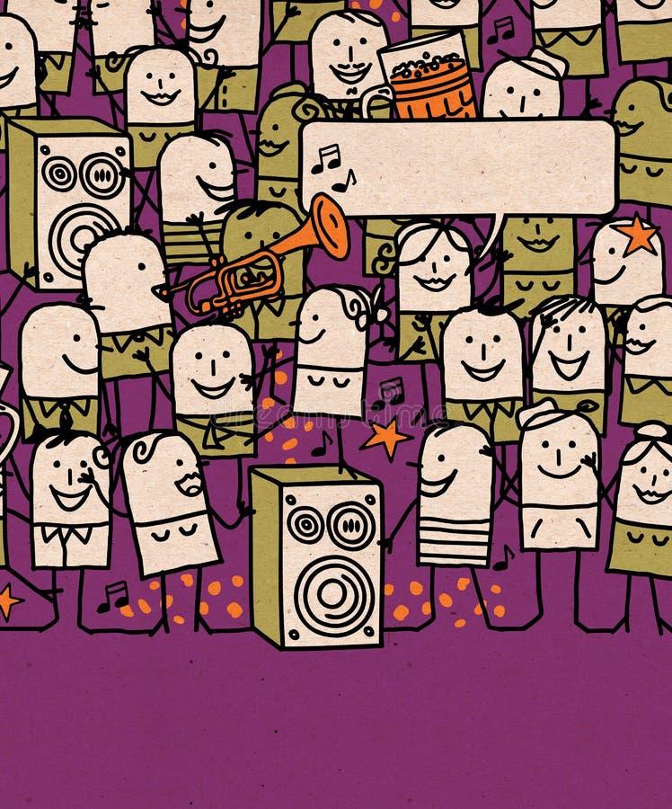 Karikatur-Leute drängen sich und glückliche Partei-Zeit vektor abbildung