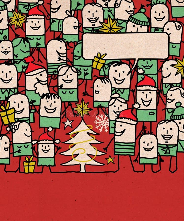 Karikatur-Leute drängen sich und glückliches Weihnachtszeit stock abbildung