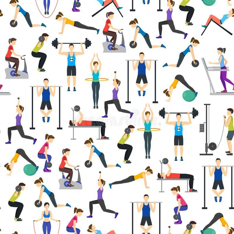 Karikatur-Leute-Trainings-Übung im Turnhallen-Hintergrund-Muster auf einem Weiß Vektor lizenzfreie abbildung
