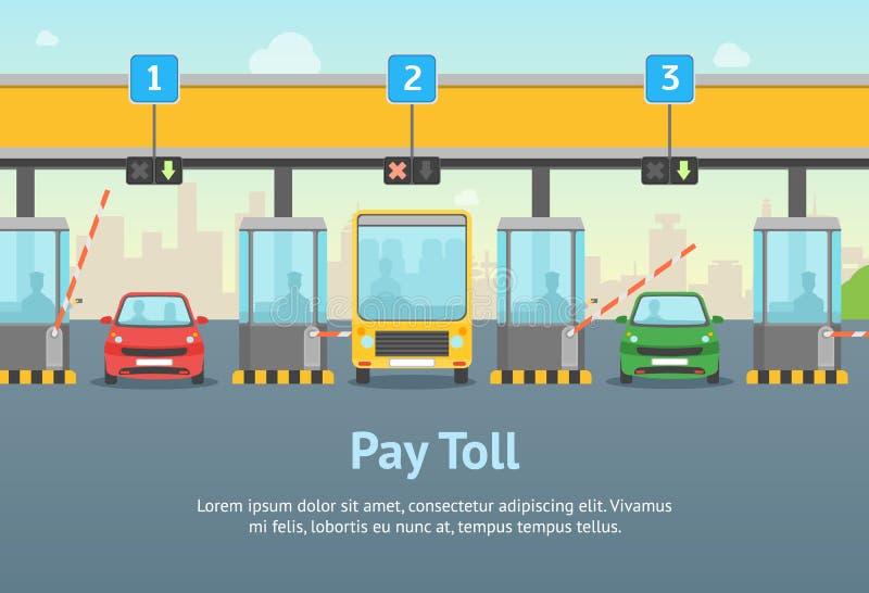 Karikatur-Lohn-Straßengebühr-Karten-Plakat und Text Vektor lizenzfreie abbildung