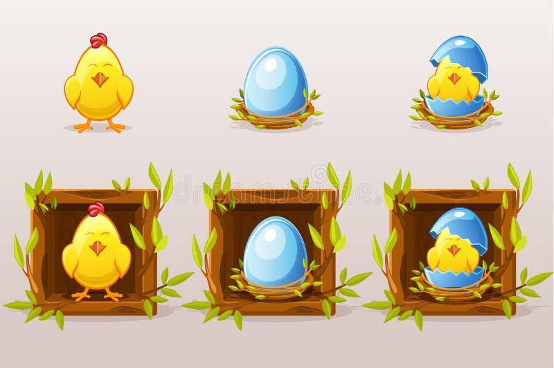 Karikatur lokalisierte blaue Eier und Huhn im Quadrat von Zweigen Netzikonen und beweglicher Appentwurf Auch im corel abgehobenen lizenzfreie abbildung