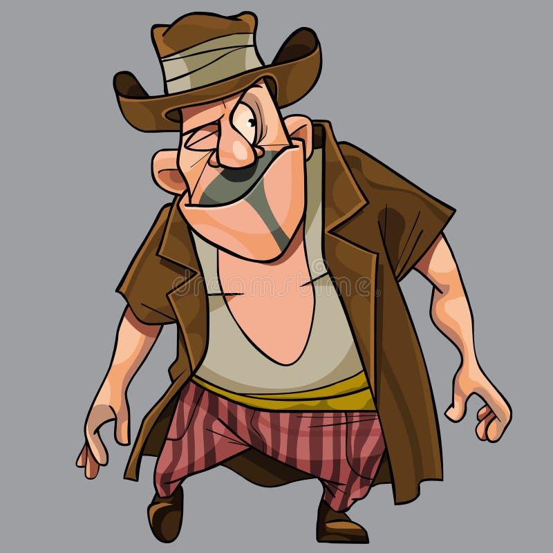 Karikatur lustig mit einem schlauen schielenden Mann ein Räuber in einem Hut vektor abbildung