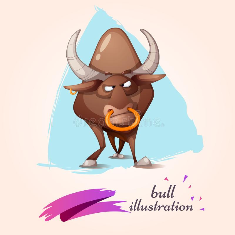 Karikatur lustig, netter, verrückter Stier lizenzfreie abbildung