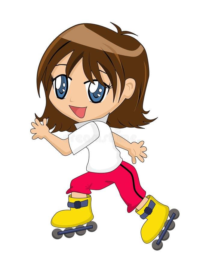 Karikatur-Mädchen auf Inline-Rochen stockbild