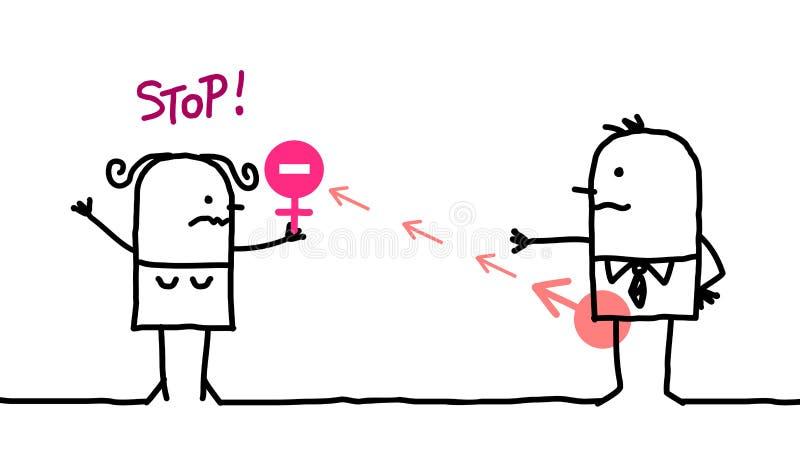 Karikatur-Mädchen, das Halt zur männlichen Belästigung sagt vektor abbildung