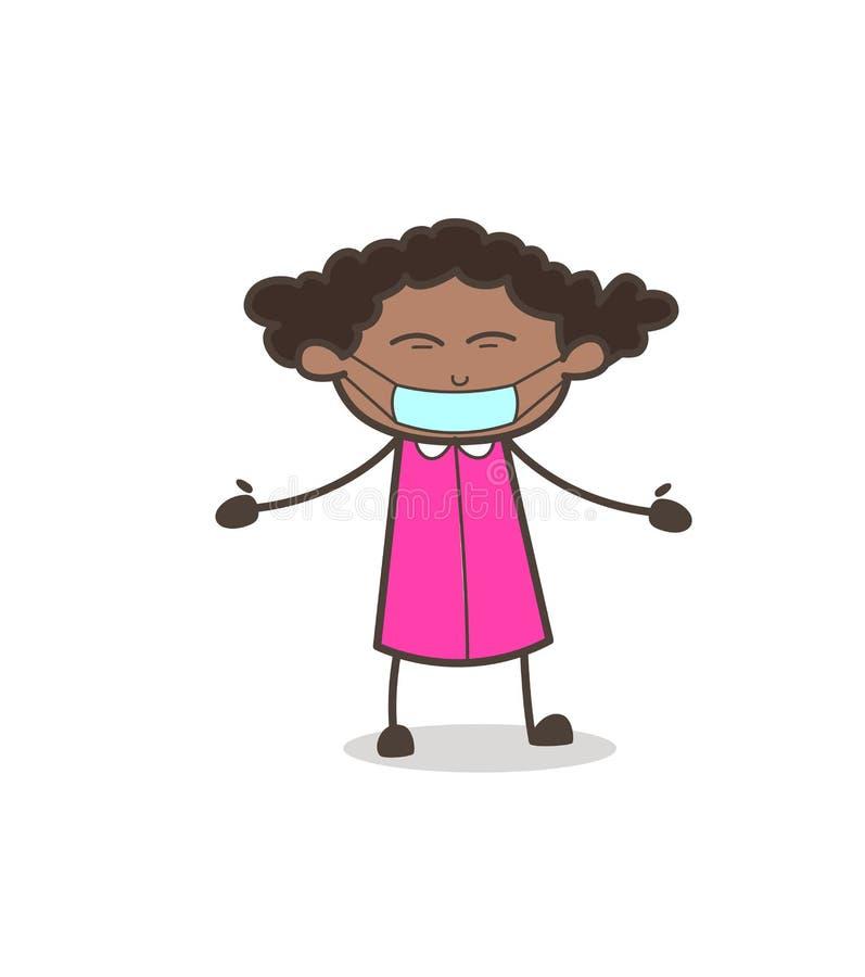 Karikatur-Mädchen mit medizinischer Maske auf Gesichts-Vektor lizenzfreie abbildung