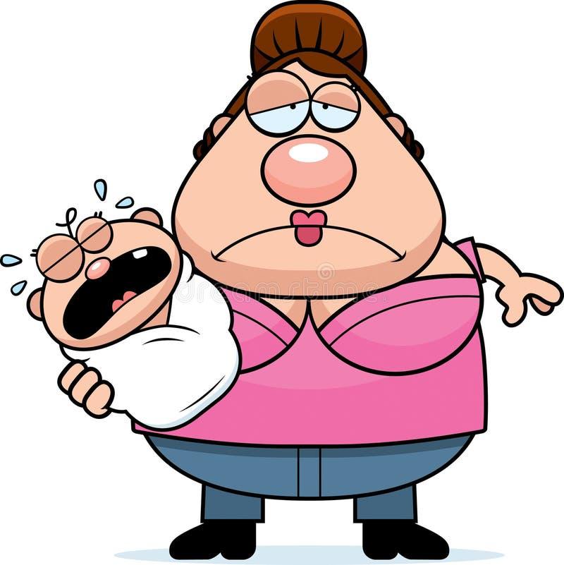 Karikatur-müde Mutter mit Baby vektor abbildung