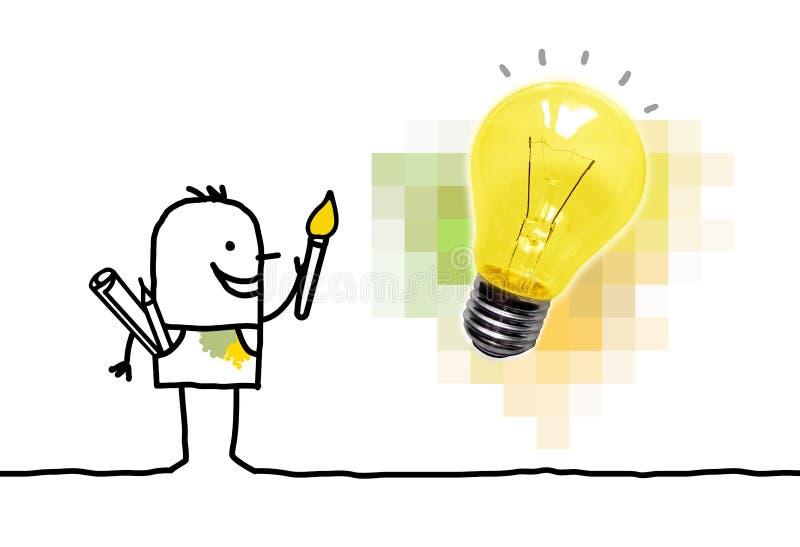 Karikatur-Maler Having eine neue Idee mit Glühlampe vektor abbildung