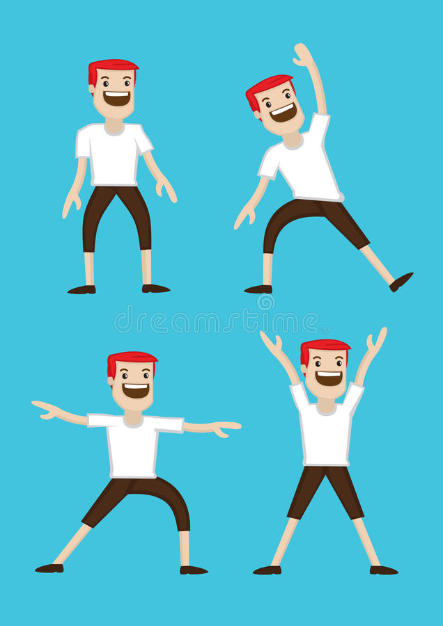 Karikatur-Mann-Aufwärmen, das Übungen ausdehnt lizenzfreie abbildung