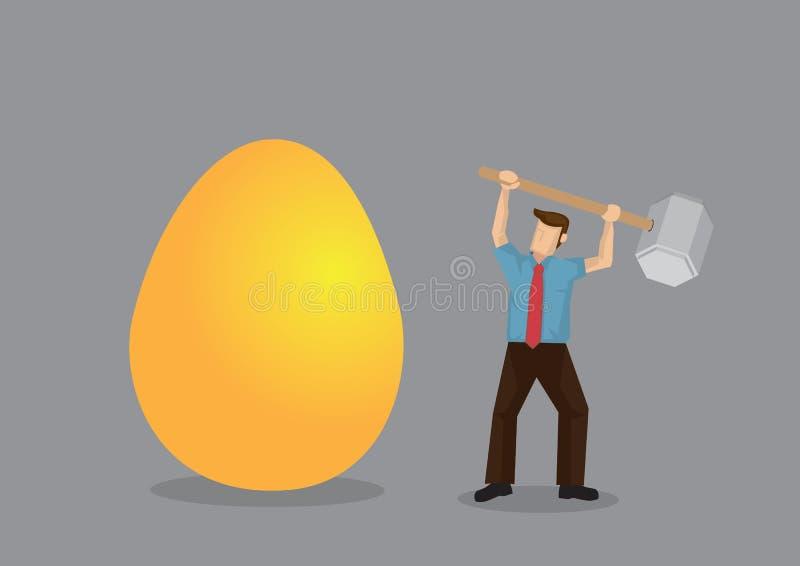 Karikatur-Mann benutzt Hammer, um enormes goldenes Ei-kreativen Vektor zu brechen lizenzfreie abbildung