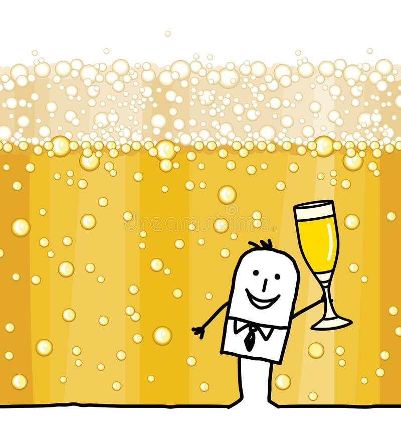 Karikatur-Mann, der Champagne- und Blasen-Hintergrund trinkt lizenzfreie abbildung