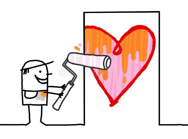 Karikatur-Mann, der ein großes Herz auf Tür malt vektor abbildung