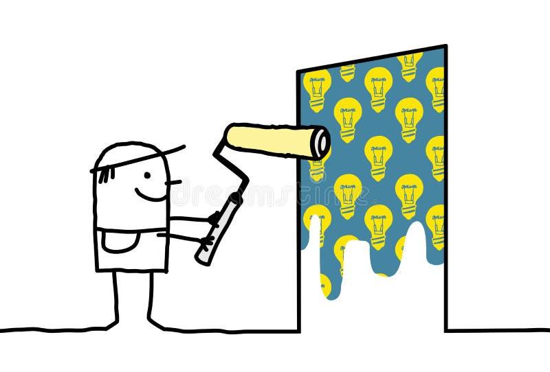 Karikatur-Mann, der eine Glühlampe-Wand malt stock abbildung