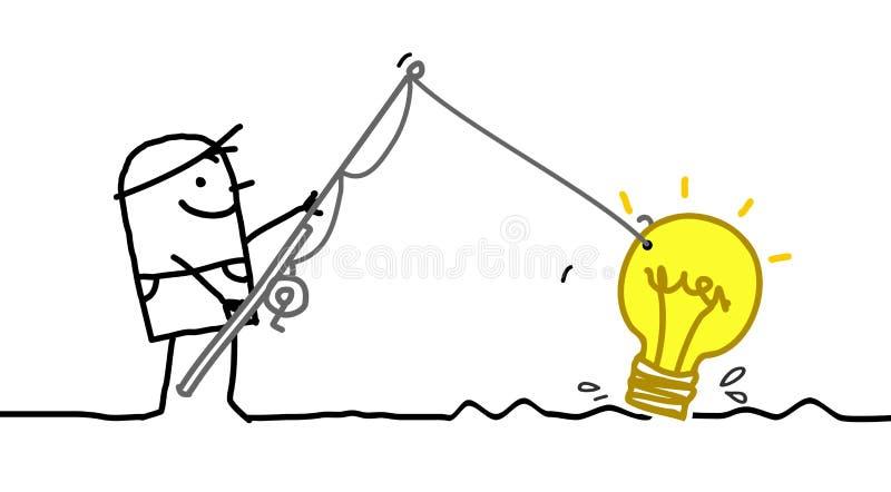 Karikatur-Mann, der eine neue neue Idee fischt vektor abbildung