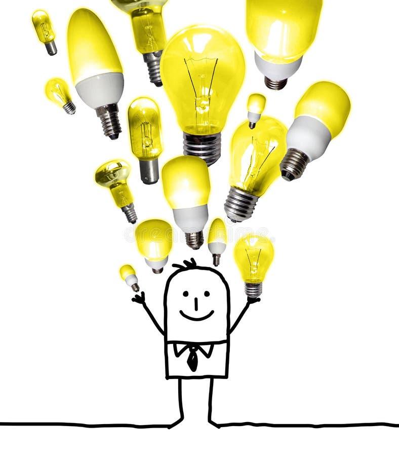Karikatur-Mann, der oben einen Glühlampe-Satz wirft stockbilder