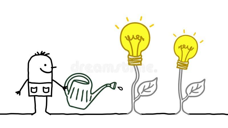 Karikatur-Mann, der wachsende Ideen wässert vektor abbildung