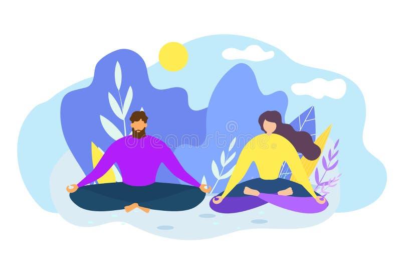 Karikatur-Mann-Frau meditieren draußen Natur-Harmonie stock abbildung