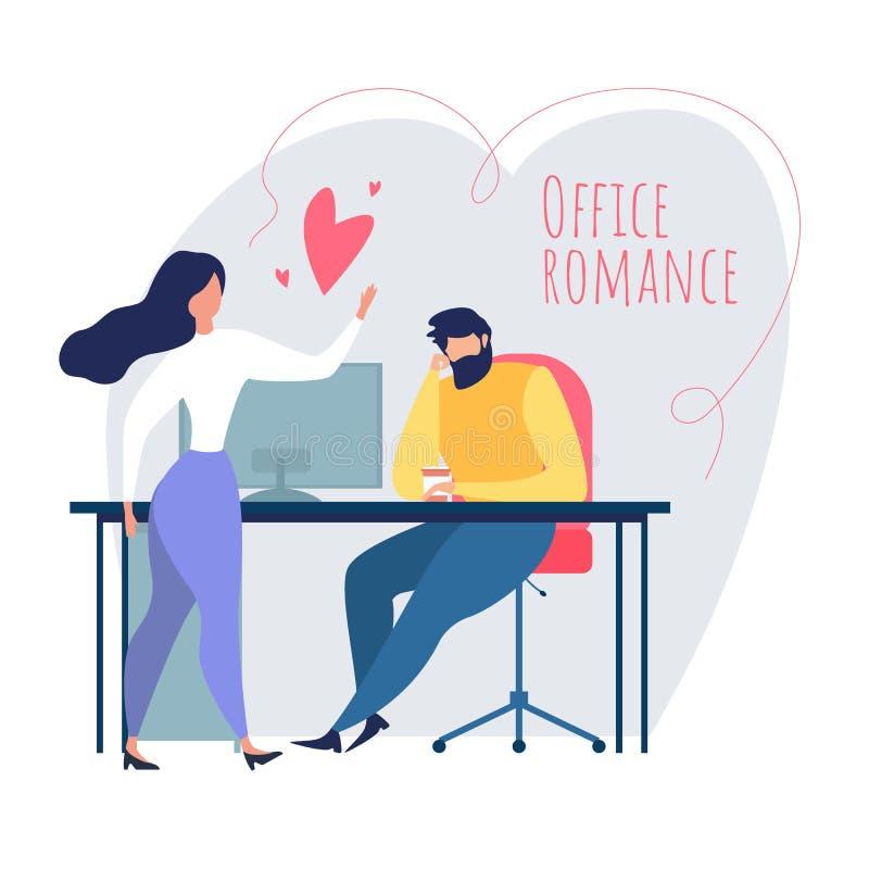 Karikatur-Mann-Frauen-Flirt-Liebesbeziehung bei der Arbeit lizenzfreie abbildung