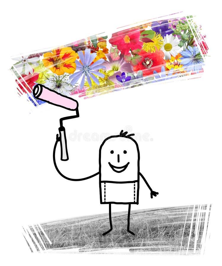 Karikatur-Mann-Malerei-Frühlings-Blumen nach Winter stock abbildung
