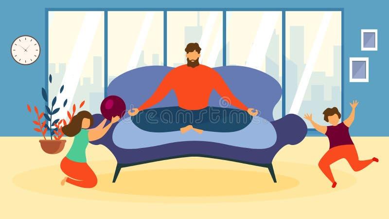 Karikatur-Mann meditieren auf Sofa Children Play Game stock abbildung