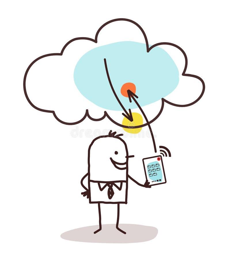 Karikatur-Mann mit Tablet-und Wolken-Verbindung lizenzfreie abbildung