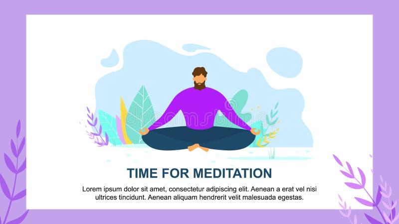 Karikatur-Mann Sit Lotus Position Meditation Time vektor abbildung