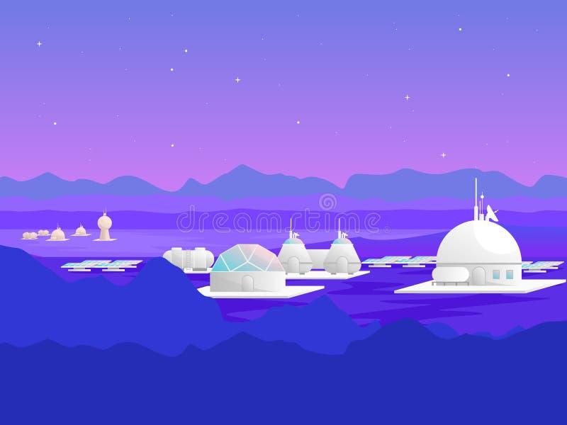 Karikatur-Mars-Besiedlungs-Karten-Plakat für Anzeige Vektor lizenzfreie abbildung