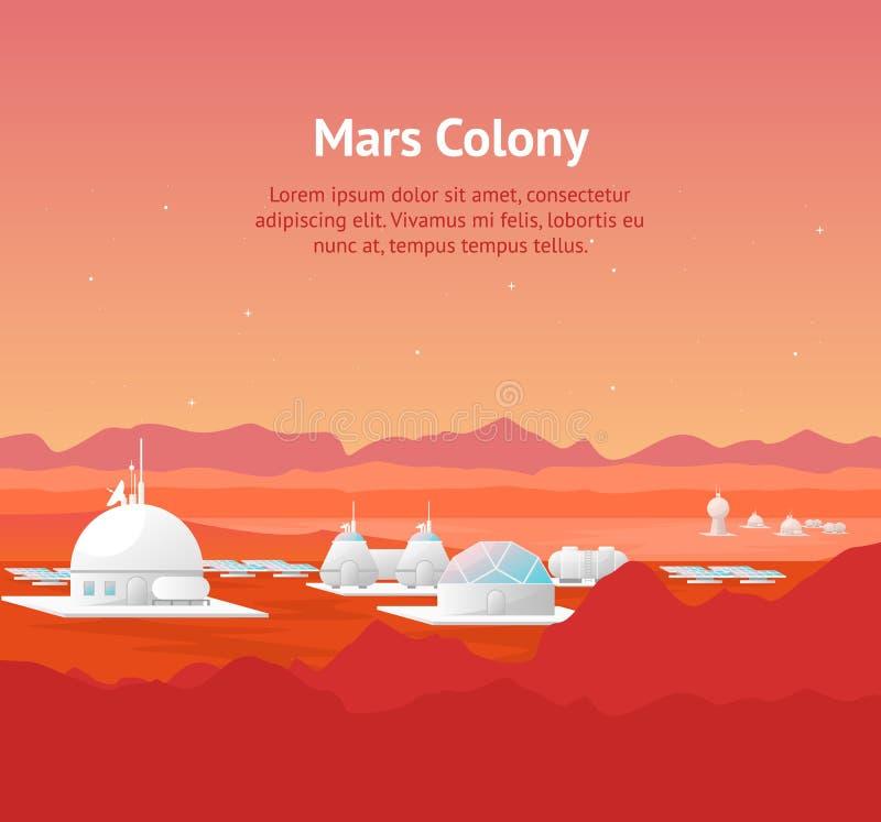 Karikatur-Mars-Besiedlungs-Karten-Plakat und Text Vektor lizenzfreie abbildung