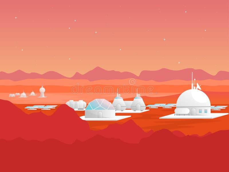 Karikatur-Mars-Besiedlungs-Karten-Plakat Vektor lizenzfreie abbildung