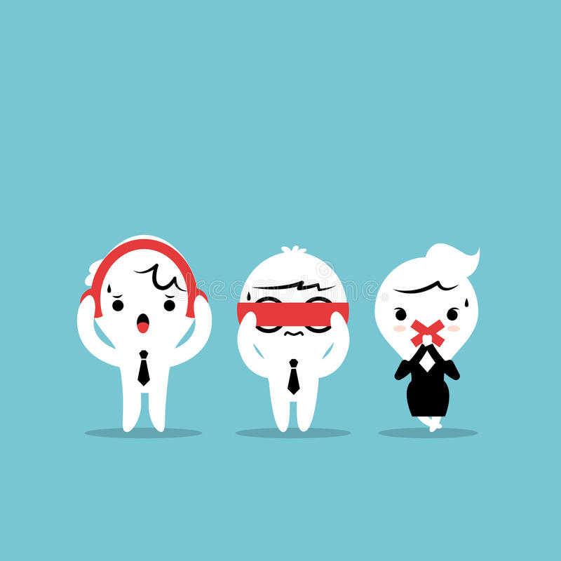 Karikatur mit drei Geschäftsmännern - drei kluge Affen Se vektor abbildung