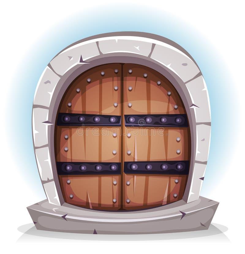 Karikatur-mittelalterliches Holz und Stein-Tür stock abbildung