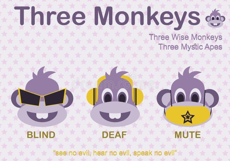 Karikatur-Mode von drei Affen mit blindem taubem und stumm im Purpur - Vektor vektor abbildung