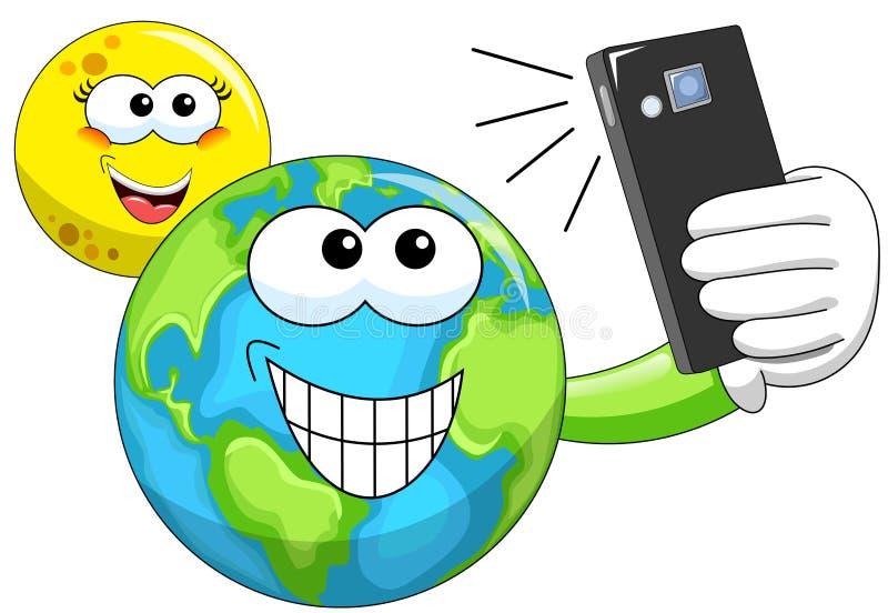 Karikatur-Mond und Erde, die selfie nehmen stock abbildung