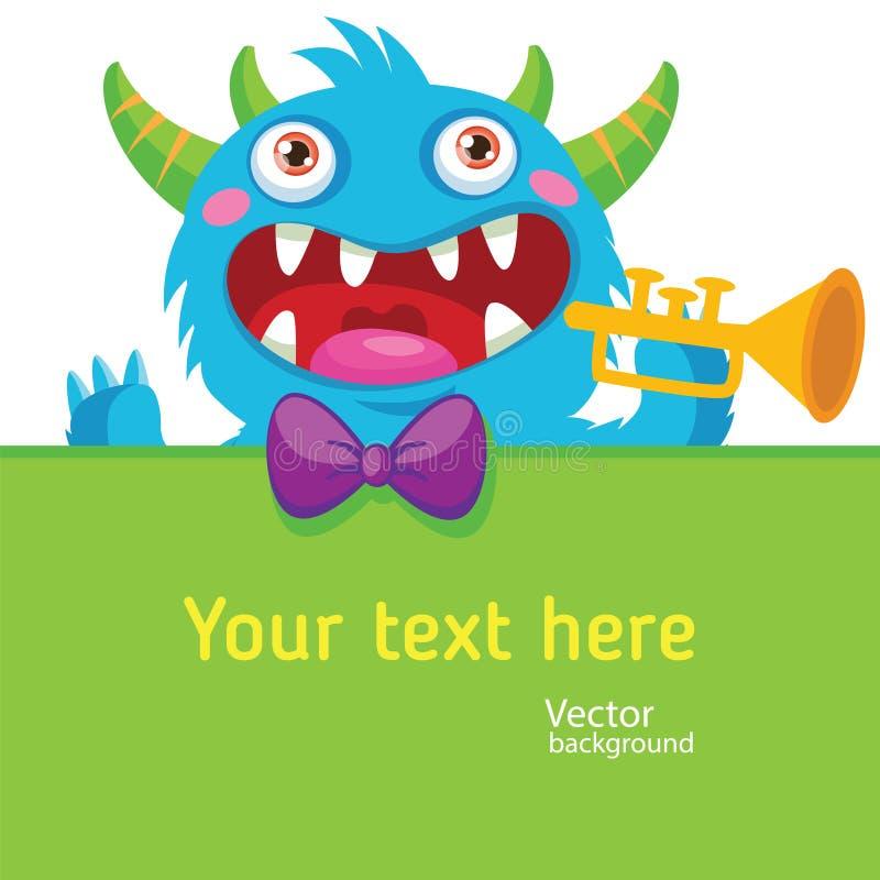 Karikatur-Monster-Vektor-Illustration Schablone für Ereignis Taschen-Monster Monster-Rohre Geräusche lustig Trompetensolo stock abbildung