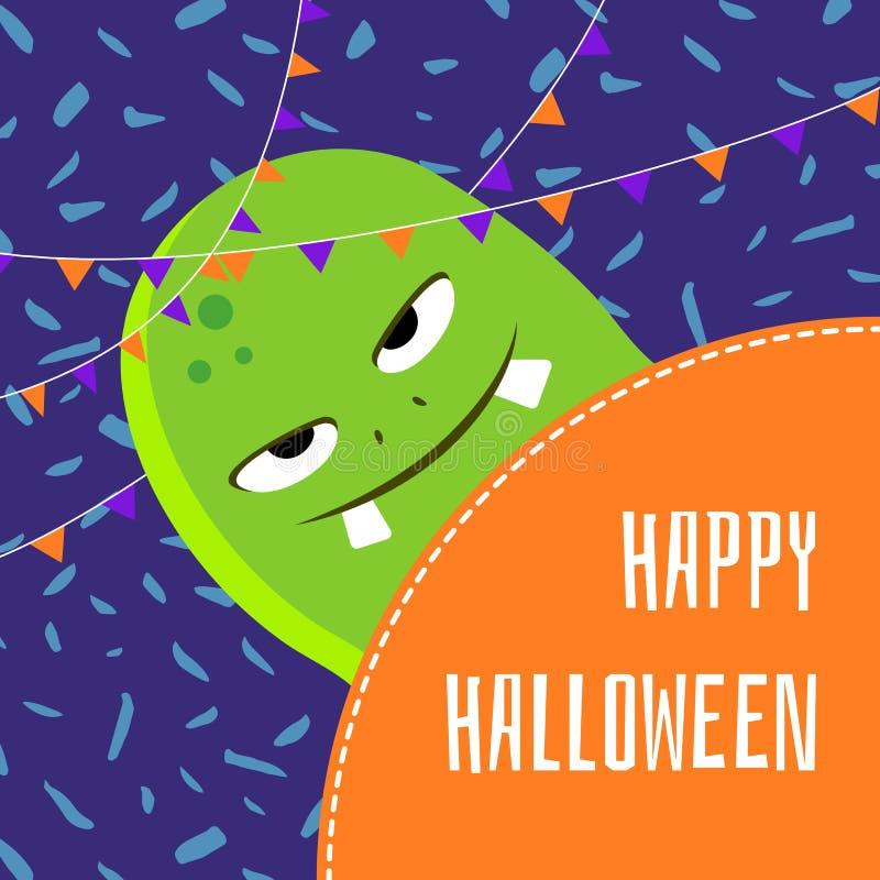 Karikatur-Monsterillustration Halloweens des Vektors glückliche nette lizenzfreie abbildung