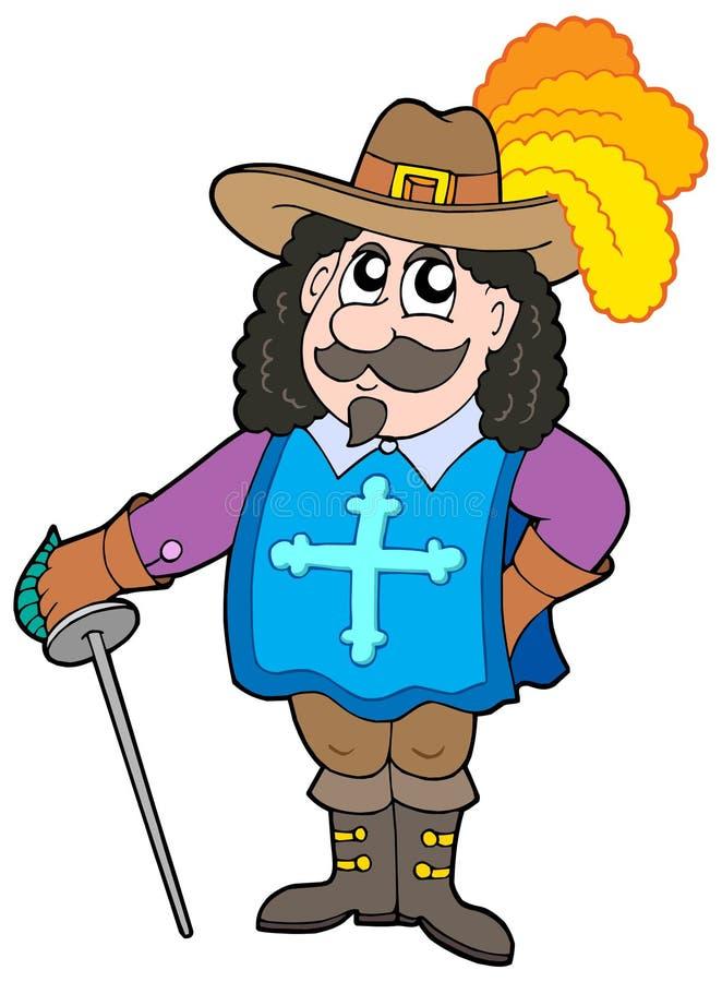Karikatur musketter lizenzfreie abbildung