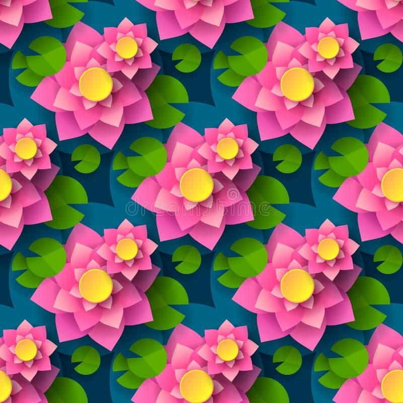 Karikatur nahtlose Lotus Background For Printing Design Dekoratives Element Abstrakter nahtloser Hintergrund Vektor-Drucken lizenzfreie abbildung