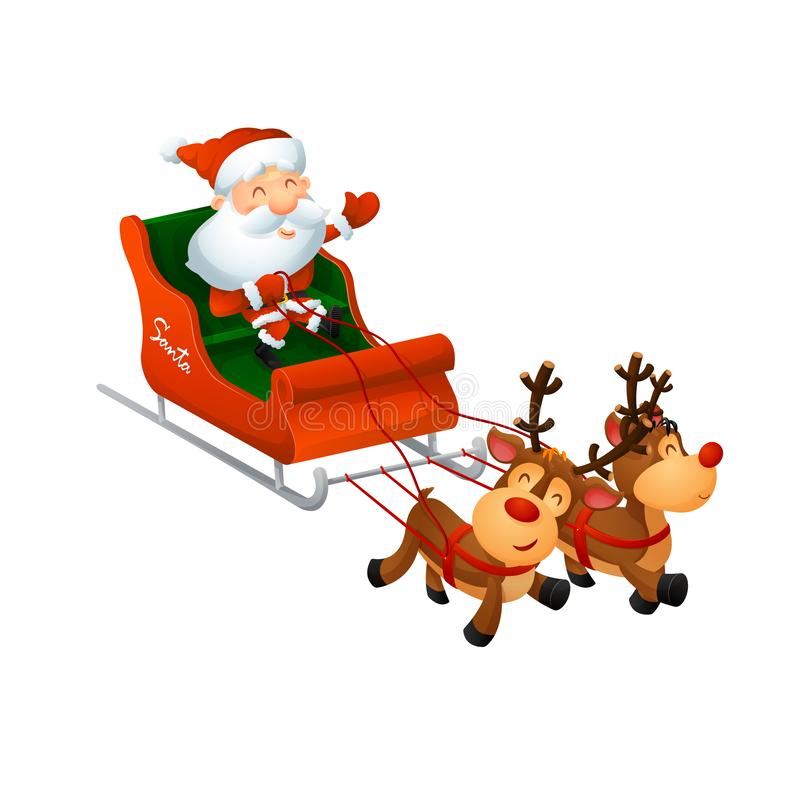Karikatur nette Santa Claus auf einem Pferdeschlitten mit lustigem Ren stockfoto