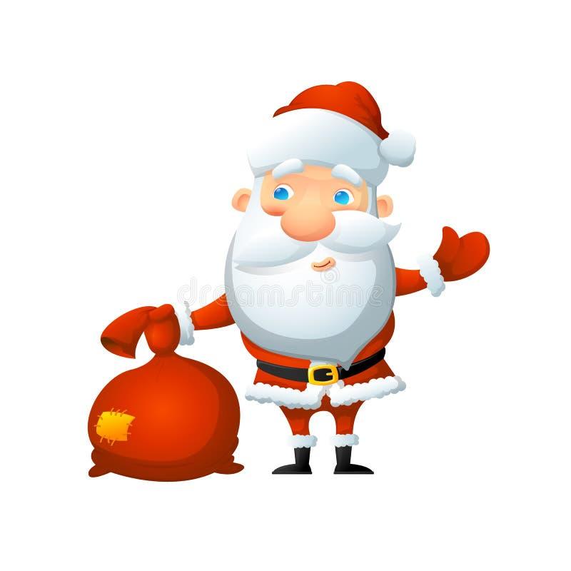 Karikatur nette Santa Claus, mit einer Tasche von Geschenken in seiner Hand stockfotografie