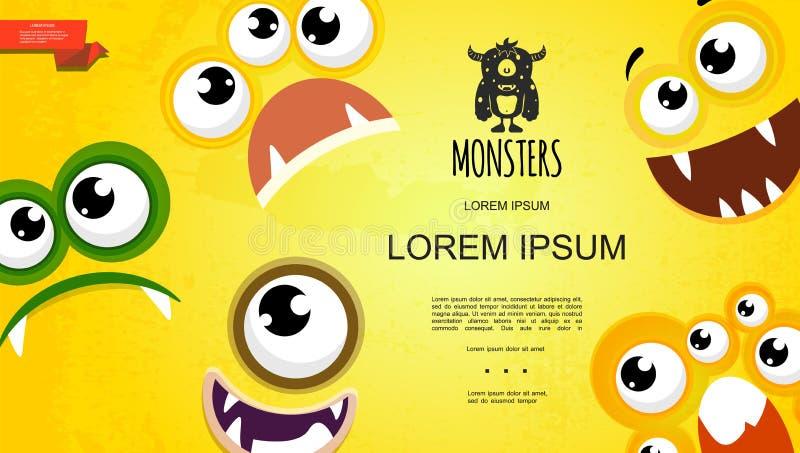 Karikatur-nettes Monster stellt Konzept gegenüber lizenzfreie abbildung