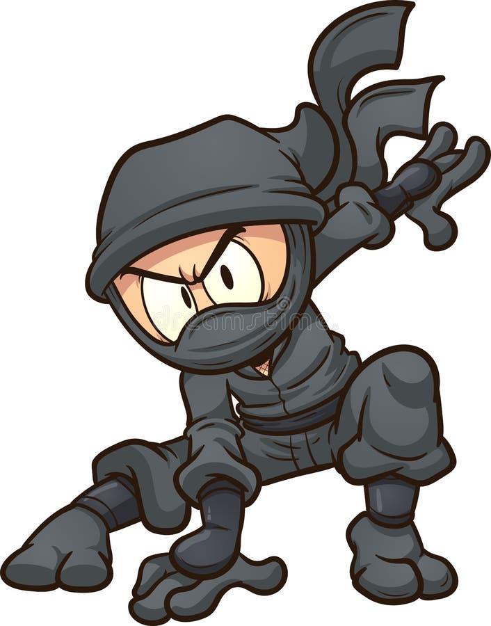 Karikatur ninja, das eine Three-Point- Landung tut lizenzfreie abbildung