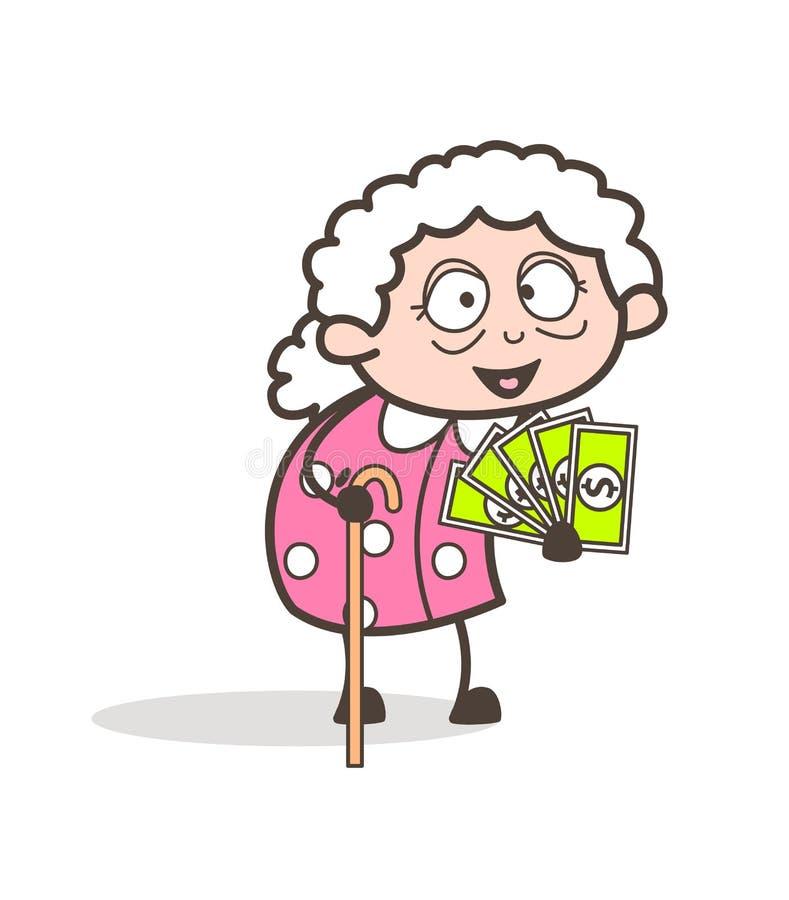 Karikatur-Oma, die Geld-Vektor-Illustration zeigt vektor abbildung