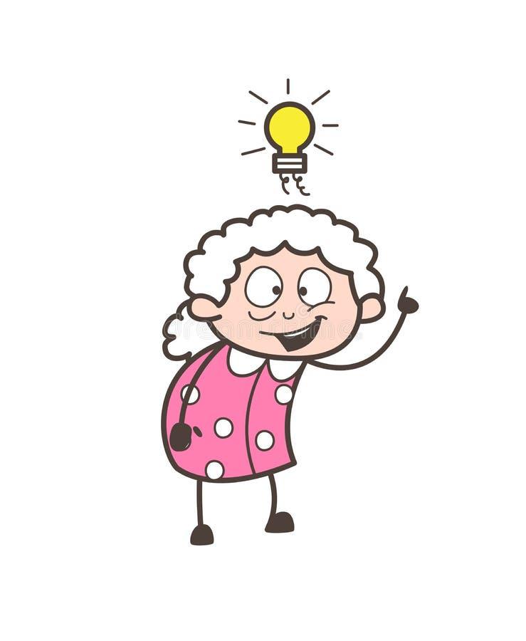 Karikatur-Oma Erhielt Eine Ideen-Vektor-Illustration