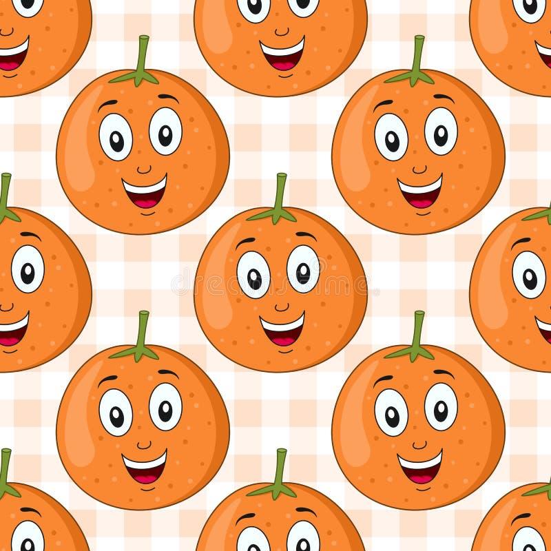 Karikatur-orange Frucht-nahtloses Muster lizenzfreie abbildung